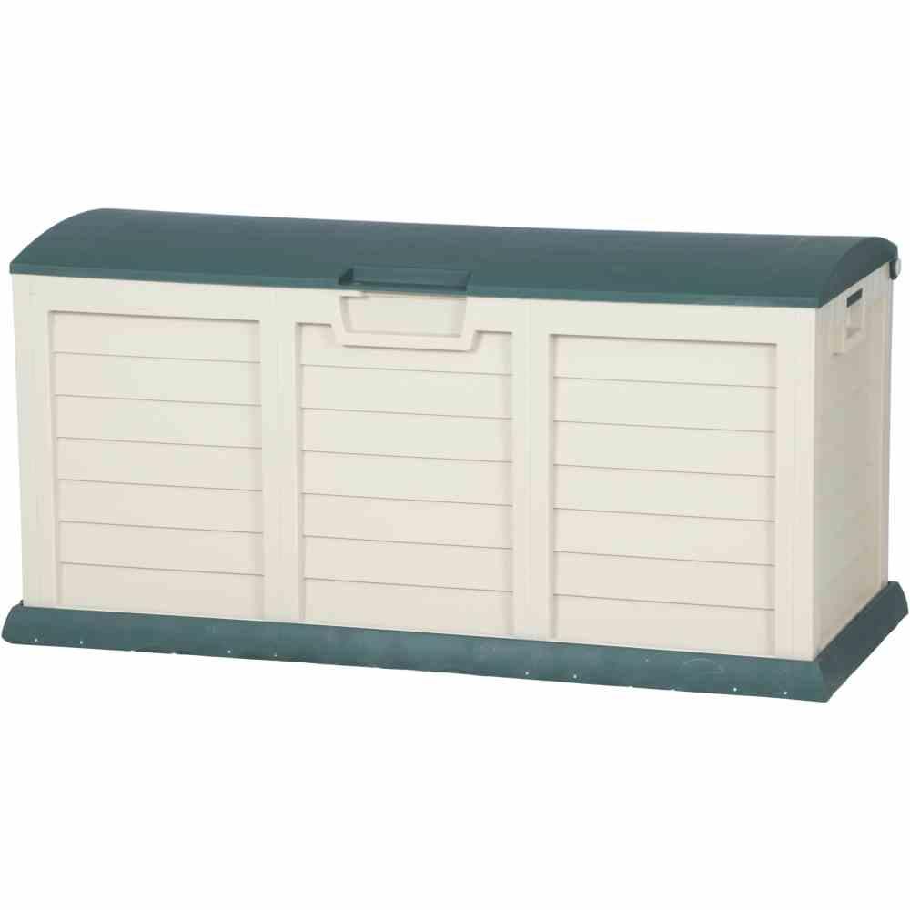 kissenbox jumbo xxl auflagenbox gartentruhe gr n beige kunststoff 140 x 61 x 69 cm garten. Black Bedroom Furniture Sets. Home Design Ideas