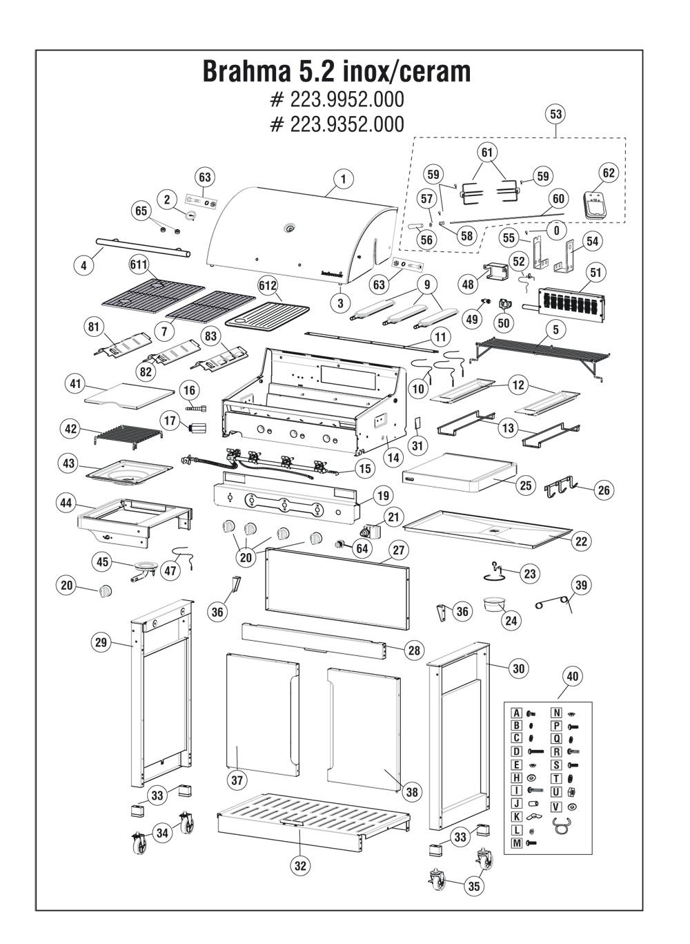 hauptbrenner f r barbecook gasgrill brahma 5 2 inox. Black Bedroom Furniture Sets. Home Design Ideas