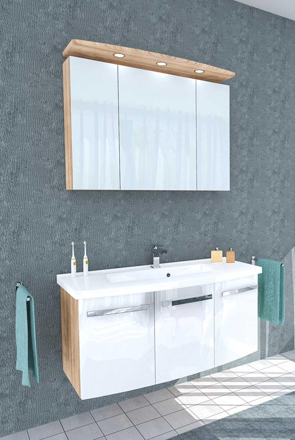 waschplatz lisa noce mit 3d spiegelschrank waschtischunterbau und mineralgussbecken badm bel. Black Bedroom Furniture Sets. Home Design Ideas