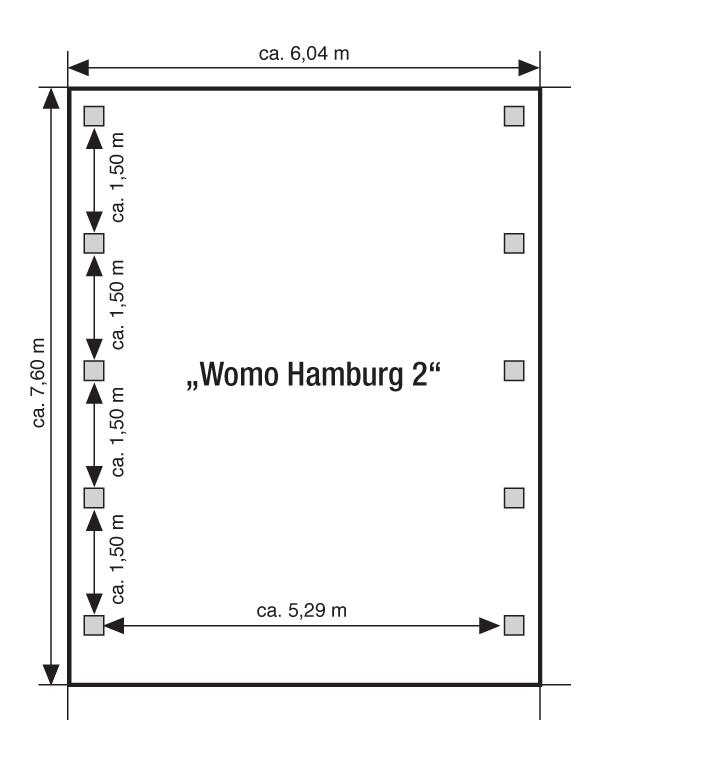 wohnmobil doppelcarport womo hamburg 2 604 x 760 x 306 cm mit 10 pfosten und aluminium dach. Black Bedroom Furniture Sets. Home Design Ideas